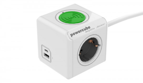 PowerCube Extended USB A+C Wireless charger, 1.5mtr cable