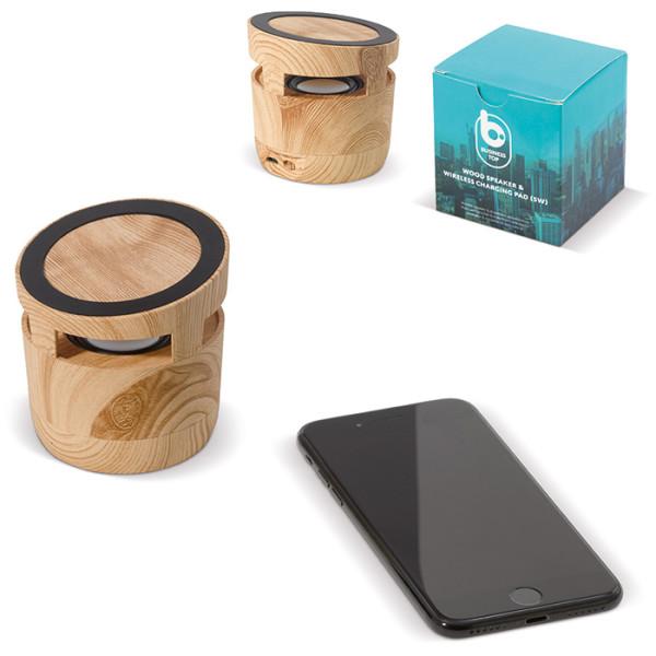 Holz Lautsprecher 3W & kabelloses Ladegerät 5W